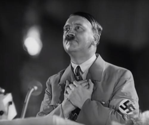 Hitler kõneleb parteipäevade lõpetamisel 10. sept. Pange tähele tema paatoslikke žeste. 1934.