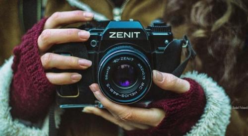 Fotoapaparaat Zenit. Objektiiv oli hea, kuid ava ja säriaeg tuli ise paika panna.